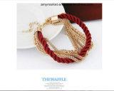 Cadeia de metal bracelete tecida a Europa Style Encanto Liga pulseiras 6 cores