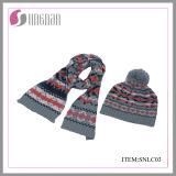 겨울 최신 판매 형식 아이들 아크릴 자카드 직물 스카프와 모자 한 벌