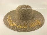Mischpapierstroh-Flechte mit goldene Ananas gedrucktem Hut