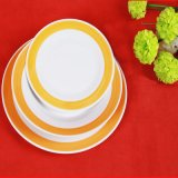 縁の丸型陶磁器の版かテーブルウェアを着色しなさい