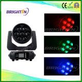 Mini RGBW 4-en-1 7*40W à LED lumière Zoom Déplacement tête de lavage