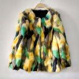 三色のジャカードのどの毛皮の円形の首のコートは長持ちする