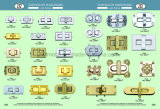 Blocage carré en cristal de spire de sacs à main de matériel de gemme/blocage de torsion