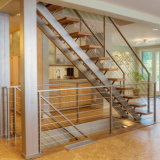 Escalera interior de la casa de diseño de escaleras rectas