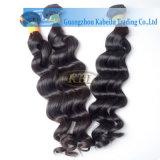 良質の深い波のインドの人間の毛髪のよこ糸