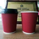 8oz/12oz/16oz rizado desechables bebida caliente Café vaso de papel con tapa