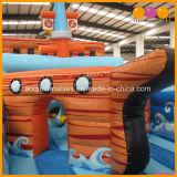 2 em 1 navio de pirata inflável do PVC do parque de diversões com a base inflável grande do Bouncer (AQ01265)