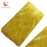 Alta qualità africana del tessuto del merletto di Paillettes Tulle