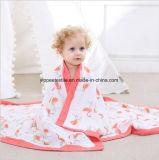 Quattro pieghe del cotone della coperta della mussola, coperta appena nata, coperta del bambino