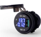 차 배 기관자전차를 위한 파란 LED 전압계 & AMP Indictator 디지털 표시 장치 QC 3.0 USB 충전기 소켓을%s 가진 빠른 책임 3.0AMP