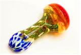 Tubulação dourada da mão da tubulação da colher da tubulação de fumo da listra da tubulação de vidro