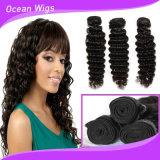 Preço de grosso da extensão profunda da onda do cabelo de Remy do Virgin do ser humano do Cambodian 8A 100%