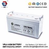 Bateria 12V90ah solar acidificada ao chumbo do ciclo profundo da alta qualidade de Lanyu
