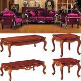 De Bank van het Leer van de luxe met de het Houten Frame en Koffietafel van de Bank (987A)