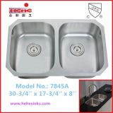One Piece 50/50 Double Bowl Stainless Steel Sink (7845A)
