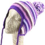 冬の帽子の幼児の柔らかく暖かいEarflap POMの羊毛によって並べられる帽子の帽子