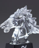 صنع وفقا لطلب الزّبون يشخّص [ك9] زجاجيّة حصان حجر السّامة شكل بلّوريّة غنيمة مكافأة مع [3د] ليزر [إنغرفد]