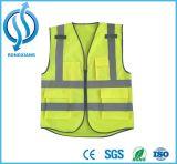 Polyester-Ineinander greifen-Sicherheits-Weste mit orange reflektierendem Streifen