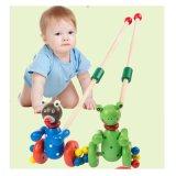 Pato de desenhos animados de madeira do bebé Frog Empurrar e puxar ao longo de poucos brinquedos para bebês