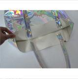 Sac argenté de Madame emballage de PVC de laser, sac de main de laser d'ombrage de sept couleurs