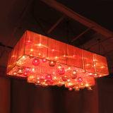 Bola de cristal de Retangular Ribboned y lámpara modernas de encargo de la cortina LED de la tela en el pasillo