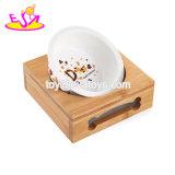 Venda por grosso de água do Alimentador Pet barato alimentos para cães de cerâmica de madeira de vaporização com suporte W06f057
