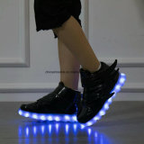 Unisex Colorful LED Light up Black Gold Children LED Shoes with 7 Colours