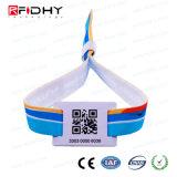 Wristband stampato codice di Qr RFID, Ntag 213 braccialetti del tessuto NFC