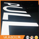 Iluminação dianteira face à prova de letra do alfabeto de PMMA
