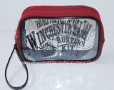 Bolso cosmético claro, bolso de embrague personalizado bolso cosmético promocional con la maneta