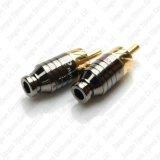 Переходника разъём-вилка кабеля миниой штепсельной вилки RCA золота тональнозвуковой паяя DIY