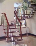 Diseño moderno en el interior de acero inoxidable escaleras con pasamanos de madera maciza de roble de diseño con color de pintura