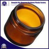 Glassahneglas-Kosmetik der Großhandelsbernsteinfarbigen freien Farben-30g, die mit Metallplastikkappe verpackt
