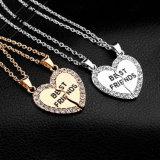 Degli migliori amici collana Pendant di cristallo del cuore placcata oro d'argento per sempre