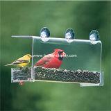 Gaiola acrílica plástica desobstruída do alimentador do pássaro