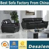 Sofà nero del cuoio genuino in mobilia del salone e dell'ufficio (01)
