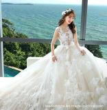 Blosse Spitze-Spitzenbrautballkleid-Feder-Spitze-Sleeveless Hochzeits-Kleid S17314