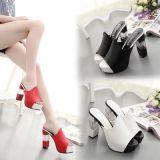 Chaussures élégantes de dames de mode d'usager de talons hauts des tailles importantes 34-42 d'été de santals carrés de femmes