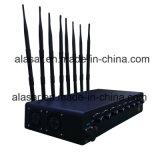 8 Stoorzender van het Signaal Cellphone/GPS/4G/WiFi van de Macht van banden de Regelbare Krachtige, de Mobiele Stoorzender van het Signaal van de Telefoon/Blocker van het Signaal