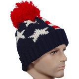 ニットの帽子のアクリルの冬の帽子POM POMの帽子