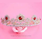 Parte superiore di cristallo Wedding del Rhinestone della damigella d'onore del diadema della parte superiore della fascia del cuore di amore nuziale delle ragazze per gli accessori dei capelli (CR-06)