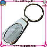 Anello chiave del metallo in bianco con il marchio della stampa