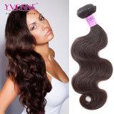自然なブラウンの人間の毛髪の拡張ペルーの毛ボディ波