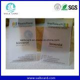 Cartão transparente do PVC do tamanho padrão do cartão de crédito