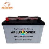 Свинцово-кислотный аккумулятор сухой зарядки аккумуляторных батарей автомобилей 65D31R 12V 70AH