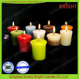 El color del efecto del copo de nieve acodó las velas votivas hechas de vela de la cera de parafina