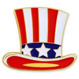 Comercio al por mayor marca de forma personalizada usa sombrero de metal esmaltado insignia de solapa