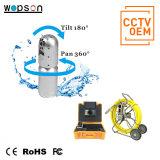 Videocamera del CCTV per controllo del macchinario e della costruzione dei camini del condotto della fogna dello scolo della conduttura