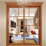 Portes en verre décoratives en aluminium de la meilleure couleur en bois des prix pour la cuisine