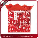 Sacs lustrés de cadeau de Noël de papier enduit de petit renne vert pour l'usager
